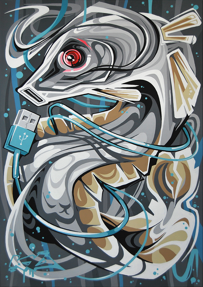 Click to enlarge image 17 USB Fish Acrylics on canvas 70x100cm.jpg